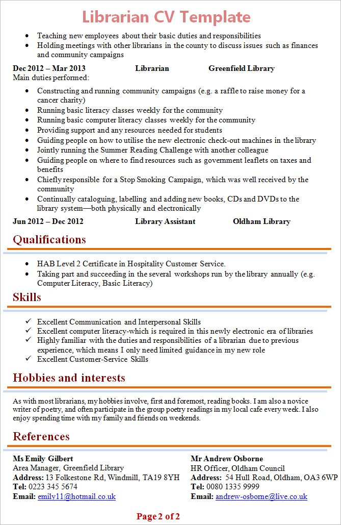 Librarian CV Template + Tips and Download – CV Plaza