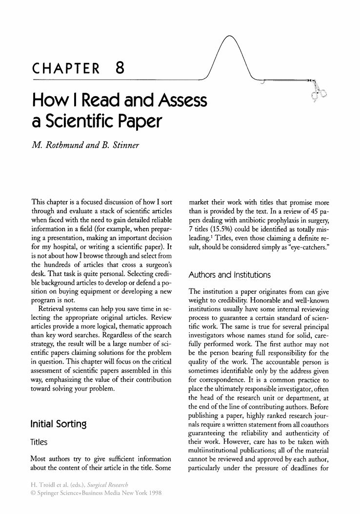 How I Read and Assess a Scientific Paper - Springer