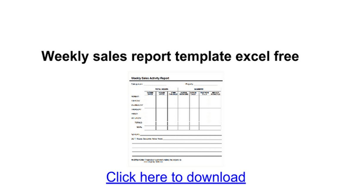 Weekly sales report template excel free - Google Docs
