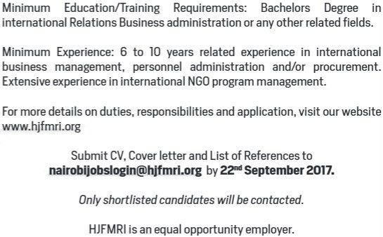 2017 HJFMRI Kenya Program Director Job - JobSpot Kenya