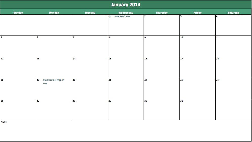 2014 Calendar Template | Calendar Template 2014