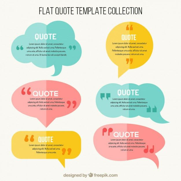 Flat speech bubbles with quote template Vector | Free Download