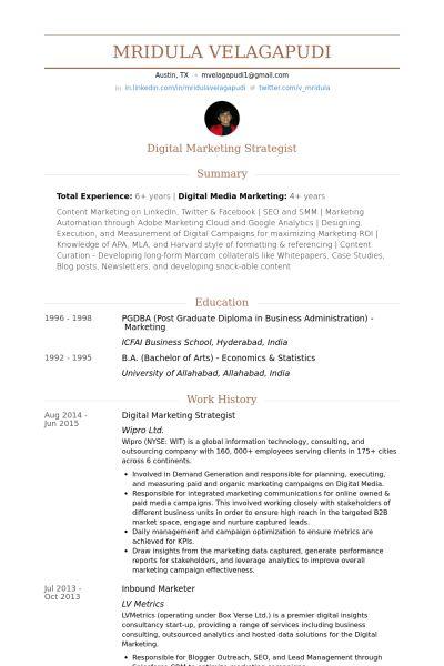 Digital Marketing Strategist Resume samples - VisualCV resume ...