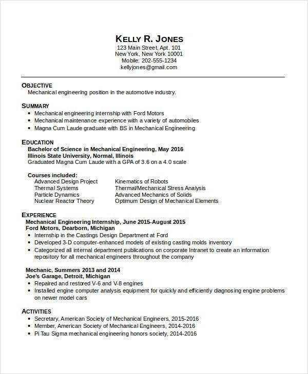 Mechanical Engineering Resume Template - 5+ Free Word, PDF ...