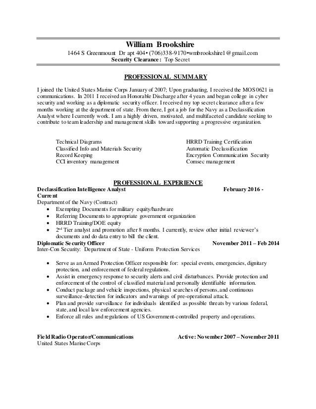 TS]Brookshire, William Resume