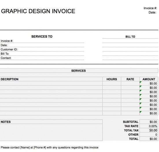 Free Graphic Design (Web) Invoice Template | Excel | PDF | Word (.doc)