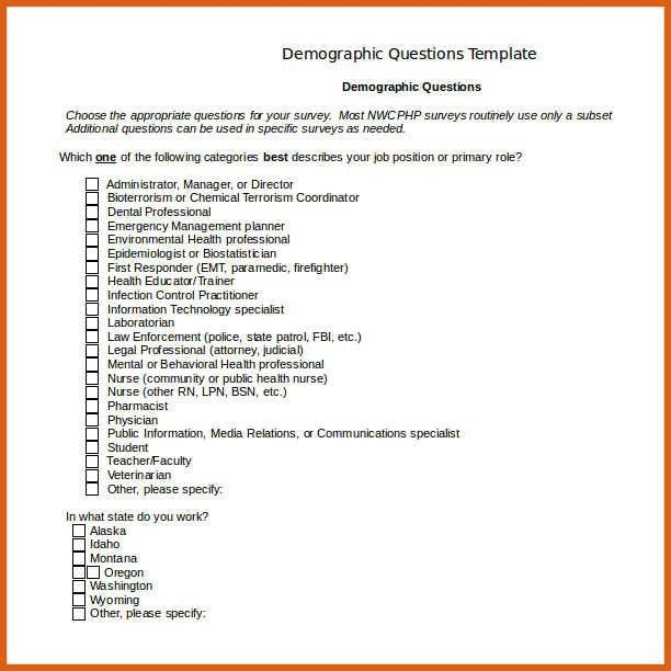 Demographic Questionnaire] Demographic Questionnaire Design ...