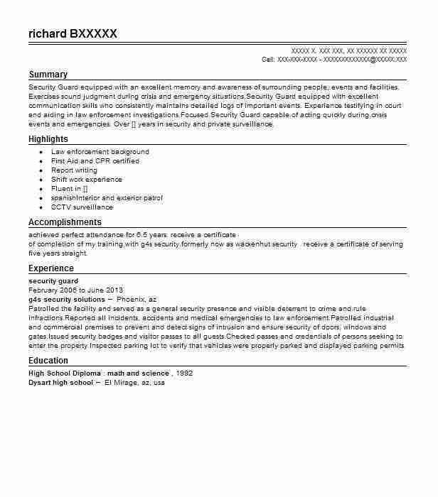 Best Security Guard Resume Example | LiveCareer