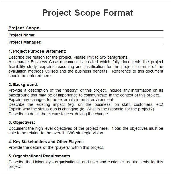 scope documents template