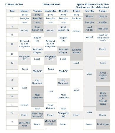Student Schedule Template - 9+ Free PDF Documents Download | Free ...