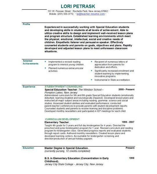 Impressive Inspiration Teacher Resume Template 10 Best 25 Ideas On ...