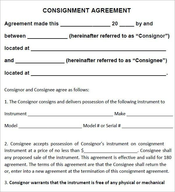 Consignment Contract Template. Consignment Agreement Pdf ...