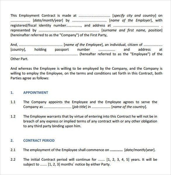 Sample Contract Templates - 6+ Download Free Documents In PDF