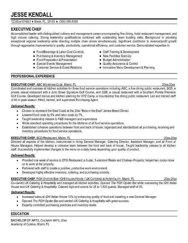 Personal Chef Resume, sample chef resume, cv personal statement ...