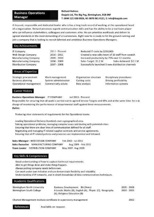Sample Operations Manager Resume | jennywashere.com