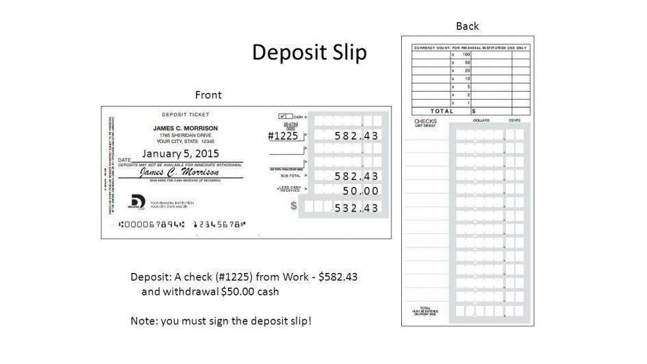 Checks Template Blank Deposit Slip Template Free Checking Deposit ...