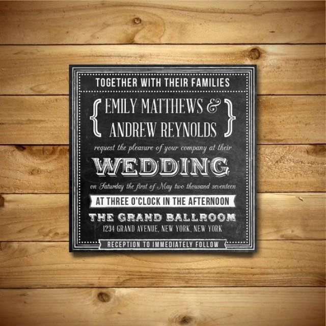 Chalkboard Printable Wedding Invitation Template - Square Format ...