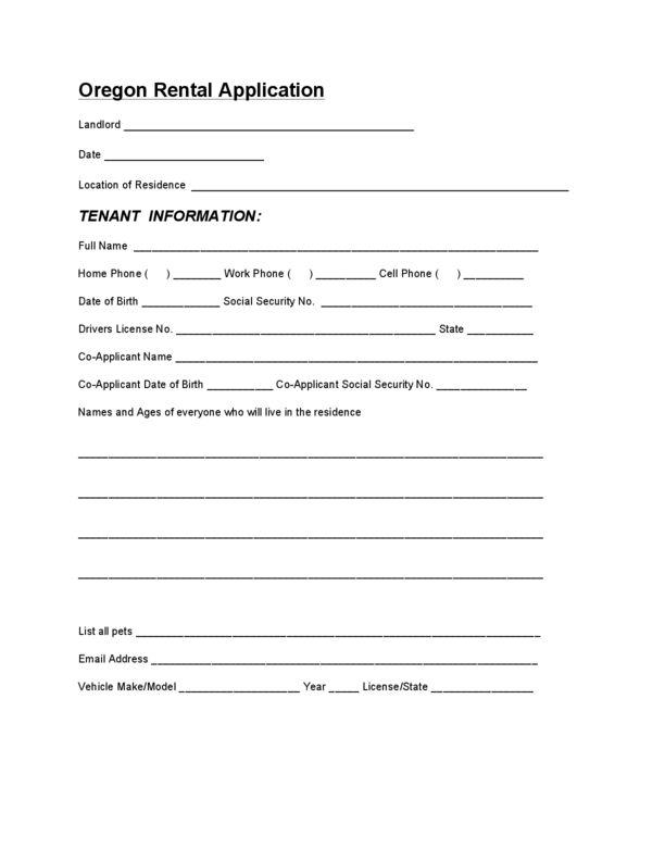 Oregon Rental Application | LegalForms.org