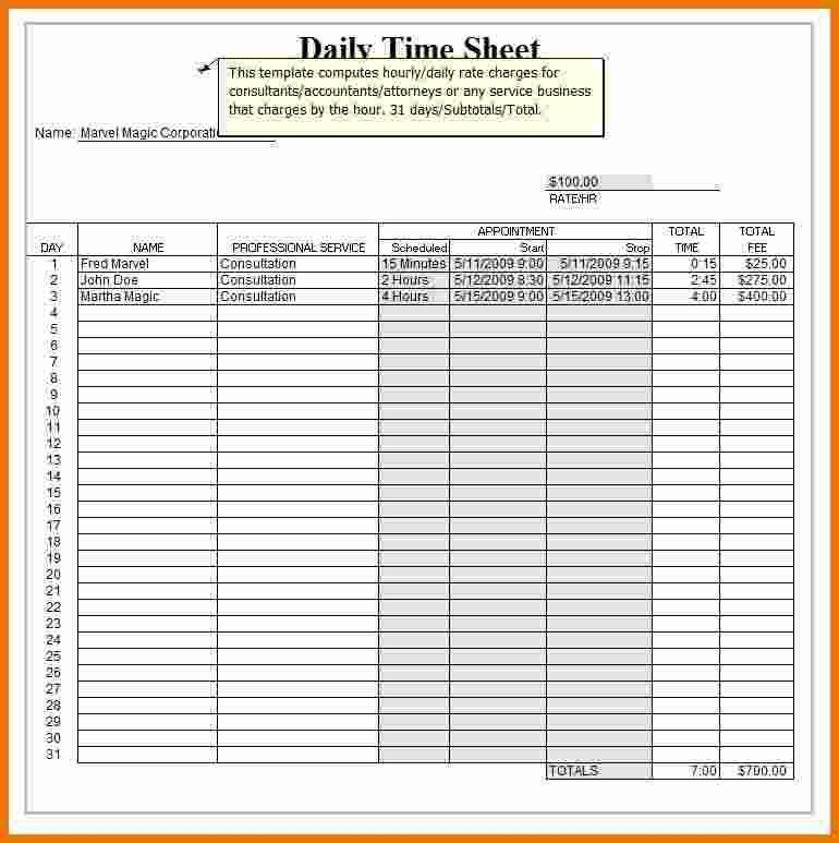 Excel Daily Time sheet Template : Selimtd