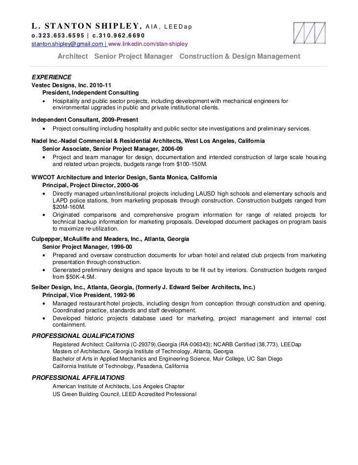 Architectural Project Manager Resume | haadyaooverbayresort.com