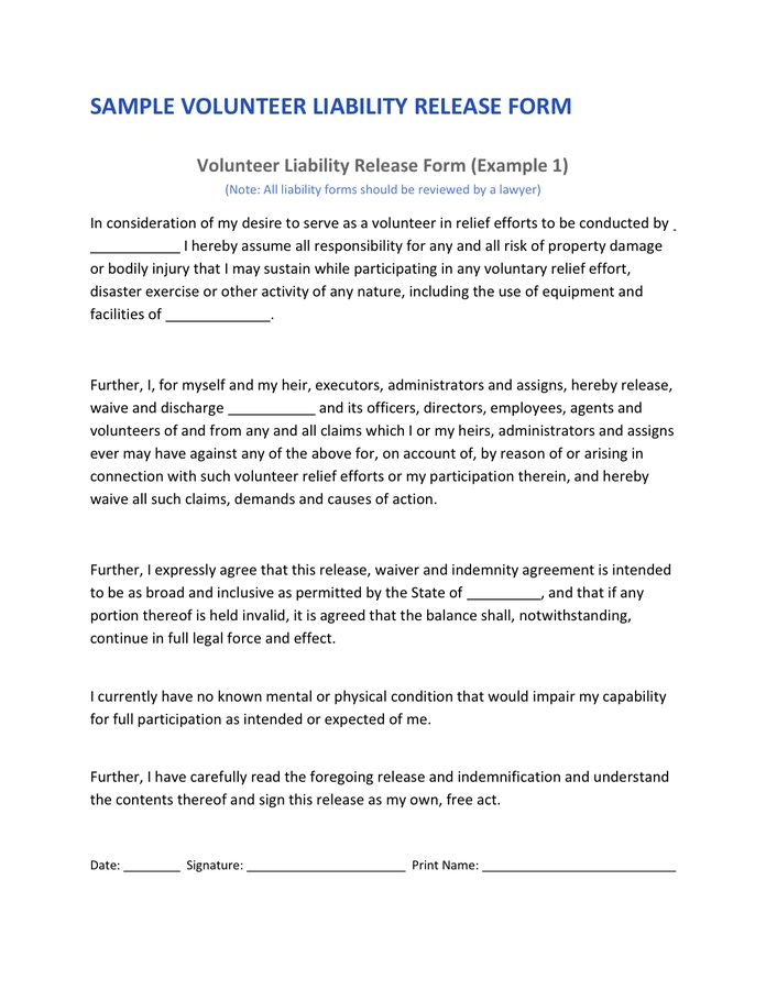 Volunteer Liability Release in Word and Pdf formats