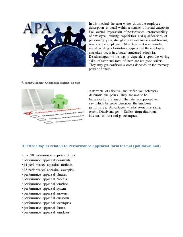 Performance appraisal form format