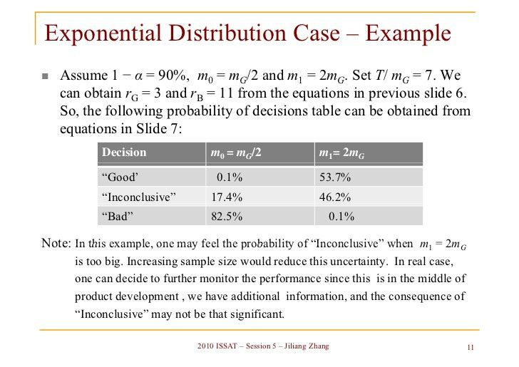Life test sample size determination based on probability of decisions