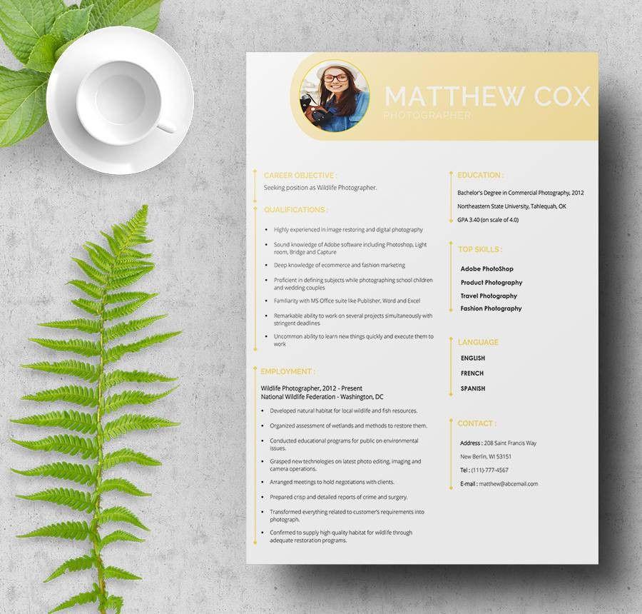 resume format for professional photographer photographer resume ...
