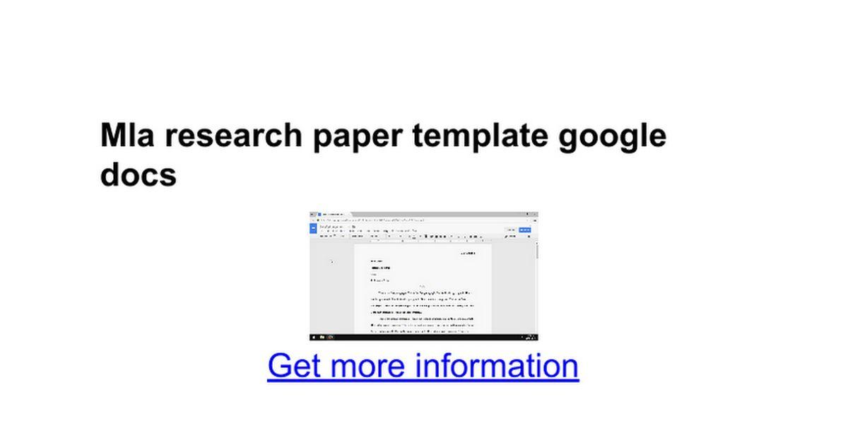 Mla research paper template google docs - Google Docs