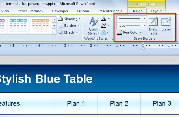 Table Eraser Tool in PowerPoint to Delete Table Borders