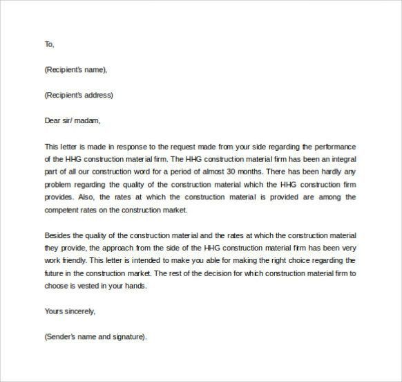 Letter of Reference Format & Sample Template