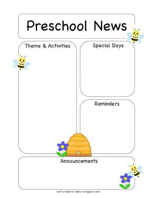 Preschool Bee Newsletter Template | The Crafty Teacher ...