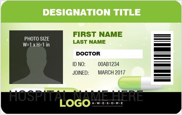 Doctor's Photo ID Badge Templates for MS Word | Word & Excel Templates