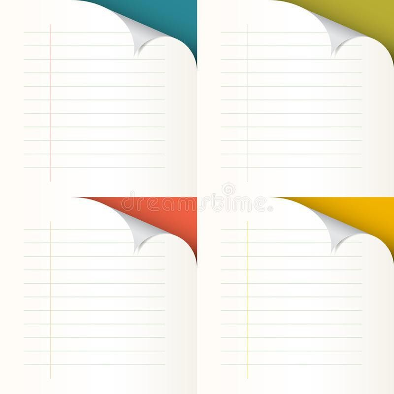 Lined Papers Set With Bent Corners Stock Vector - Image: 42478395
