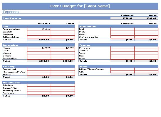 Event Budget Template | cyberuse