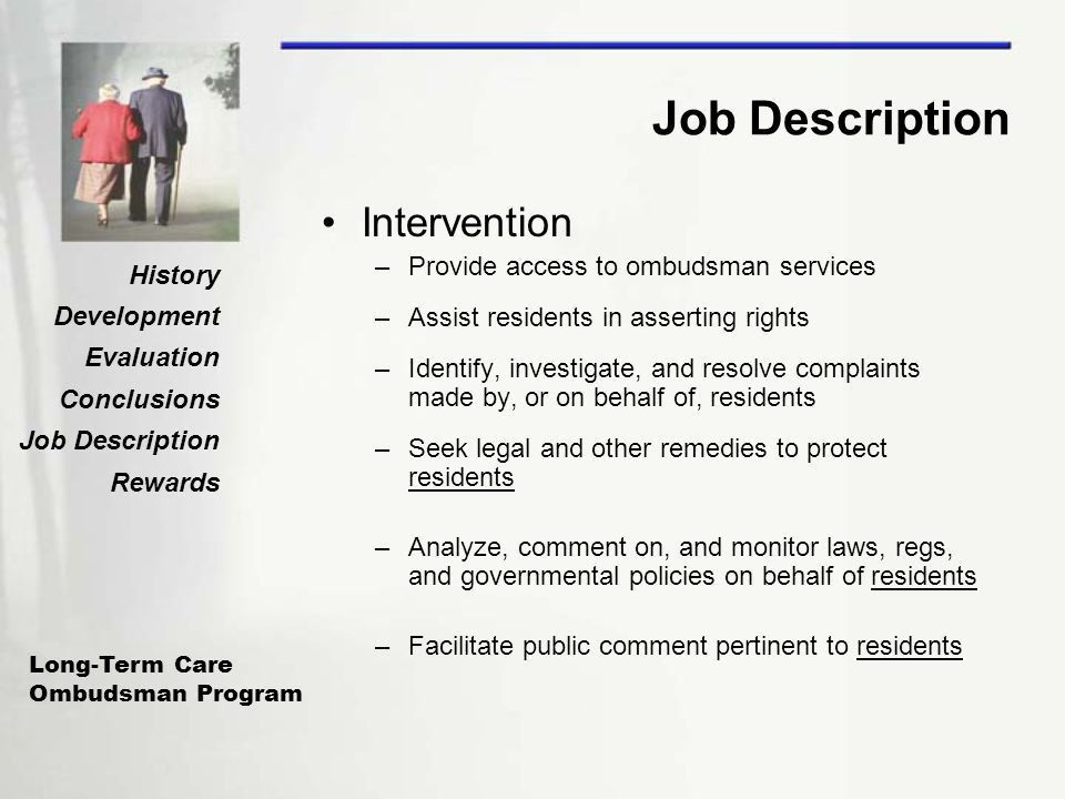 The Long-Term Care Ombudsman Program History and Responsibilities ...