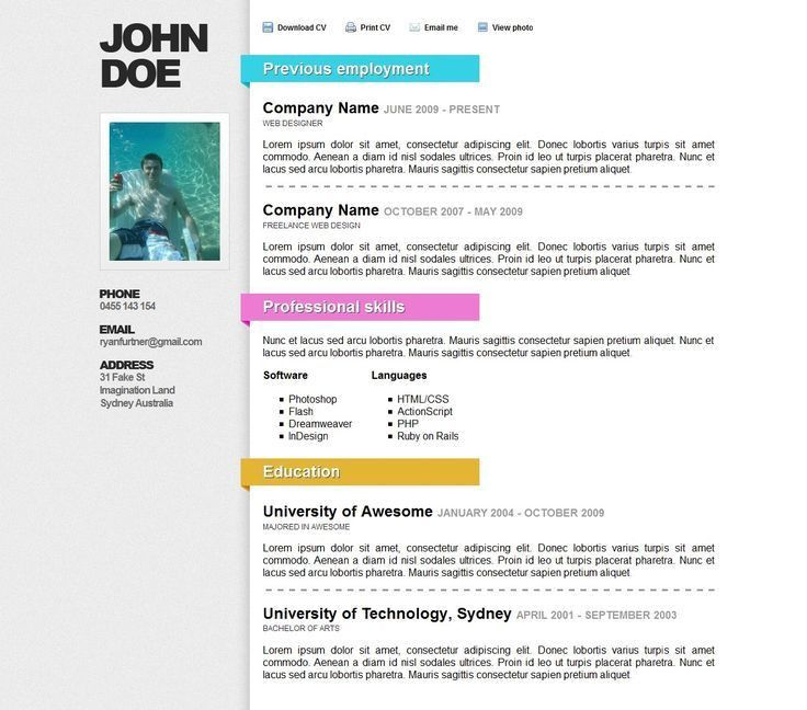 Creative Professional Resume Templates. Free Download Sample ...