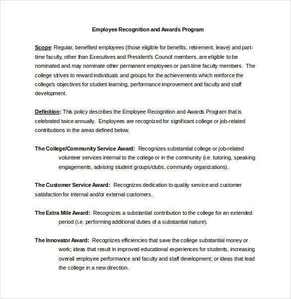 Sample Award Nomination Letter For Employee | ithacaforward.org