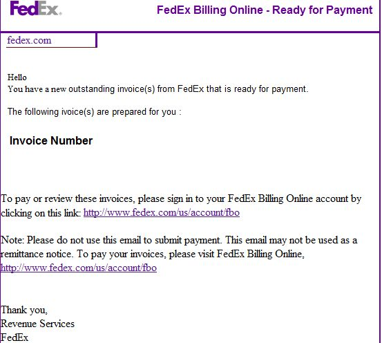 Spamvertised 'Your Fedex invoice is ready to be paid now' themed ...