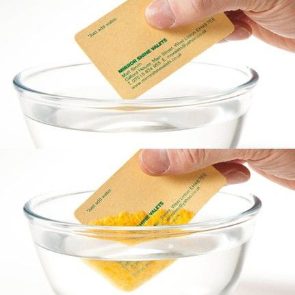Car Cleaner Company business card turns into sponge...wow ...
