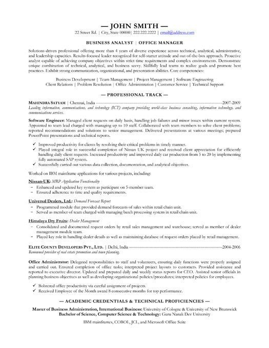 Formal Academic Credentials for Business Analyst Resume Samples ...