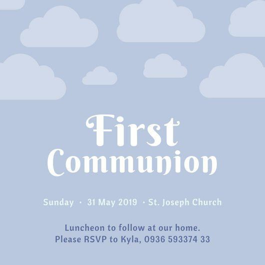 First Communion Invitation Templates - Canva
