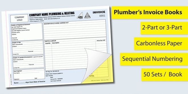 Invoice Books for Plumbers - Personalised Duplicate Pads