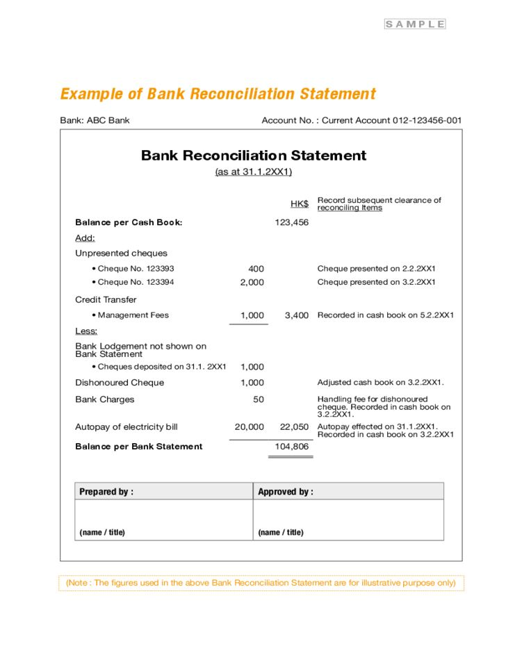 Bank Reconciliation Statement Form Free Download