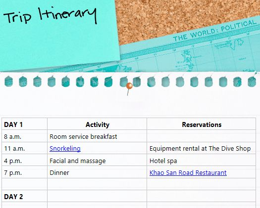 Organized Travel Planning
