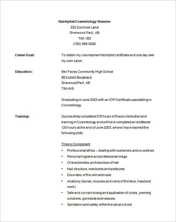 Download Cosmetologist Resume | haadyaooverbayresort.com