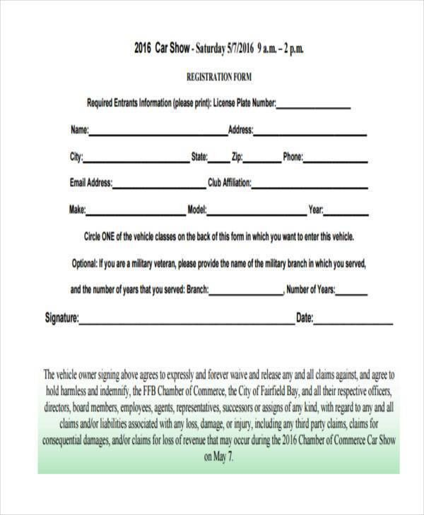 9+ Car Show Registration Form Samples - Free Sample, Example ...