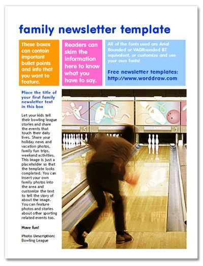 Free Family Newsletter Templates for Microsoft Word from WordDraw.com