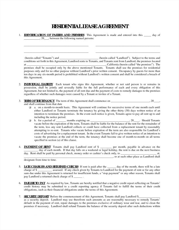 Printable Blank Lease Agreement Form Divorce Decree Sample P L ...