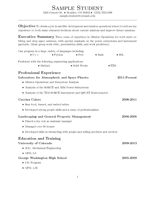 Sample LaTeX Resume - wikiHow